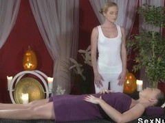 Totally naked brunette gets massage with oil