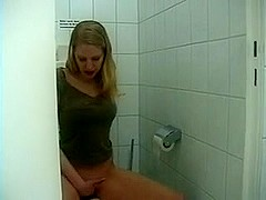 German Dilettante Golden-Haired Lavatory Masturbating