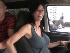 Car fun with a really busty mama and her boy