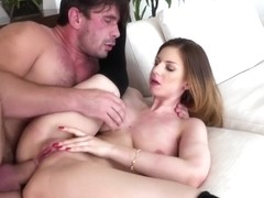 Little brunette takes his big prick in her butt and goes ass to mouth