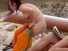 Stripped Beach Movie Scene Topless Gal mystically Spied On Voyeur Camera
