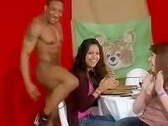 Cougars suck off a stripper's BBC