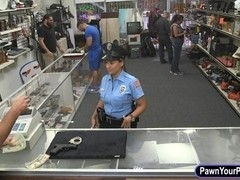 Security officer pawns her stuff and fucked in the backroom