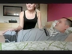 Non-Professional Golden-Haired Hotty Gives Her BF A Tugjob, Until Spunk Flow