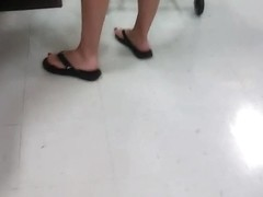 tall blonde MILF in checkout
