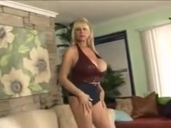 Horny granny with big mounds gives great titjob