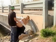 Public oral-service job sex-stimulation pleasure and doggy position sex
