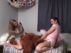 Star and Adriana hump Mr Bear in diapers