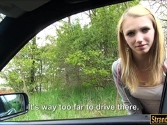 Cutie Beatrix Glower hitchhikes and gets drilled in the car