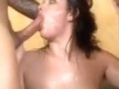 Brunette April Dawn Choking Hard On Raunchy Face Fuck