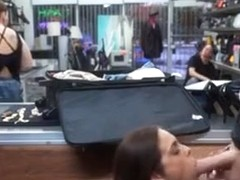 Brunette Flight Attendant Sucks Dick Behind Counter In Shop