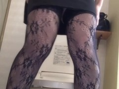 Stockings asian pissing