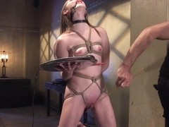 Slim gagged slave fingered to squirting