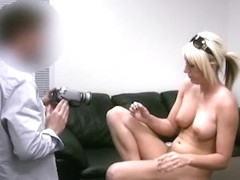 Blonde babe receives a hot facial cumshot at her xxx casting