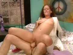 Skinny hippie coed trick is fucked with a groovy schlong in her room