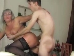 Hot russian saggy tits mommy fucks junior guy stockings