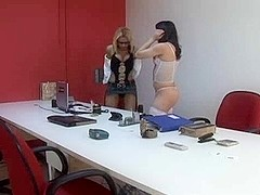 Hot threesome in a office
