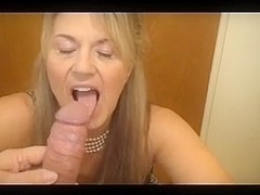 Milf is in stockings while fucking with an aroused guy