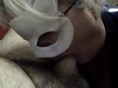 Masked blonde girl sucks my cock and gets cum on tits