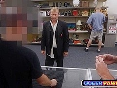 Wedding guy fucked in pawn shop like a true slut