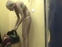 Hot sexy blonde caught in tanning room