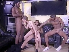 Interracial gangbang white girl