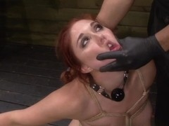 Rose Red Tyrell's Limits are Tested with Rope Bondage, Sybian, Deepthroat BJ, Squirting & Roug.