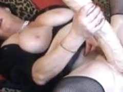 Wild mature French brunette plays with huge sex toy