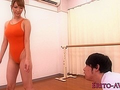 Flexible busty japanese babe gets facialized`
