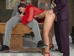 Malaya in red lingerie takes on two dicks