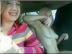 Two legal age teenagers lesbian Girls Playing with pussy in Car