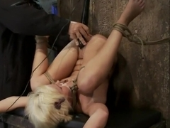 Fresh girl from Down Under suffers some hard foot caning One brutal squirting orgasm after anoth