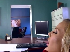 Hot busty secretary satisfies her horny boss in an office