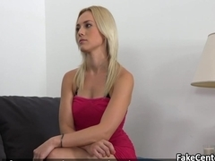 Babe playing with her pussy on casting