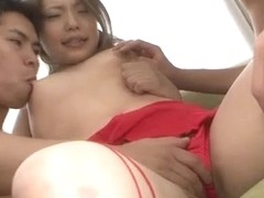 Tsubasa Tamaki lingerie model enjoys threesome sex