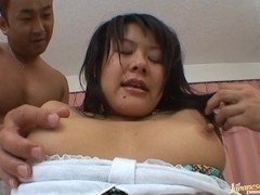 Horny girl called Tsumiki Shinodo sucks cock gets fucked with a condom.
