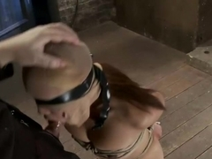 Sexy Japanese girl is tightly bound w/elbows togetherBrutally skull fucked w/cock. Swallow it!