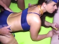 big boob oiled german stewardess milf sexy susi gets extreme rough group banged