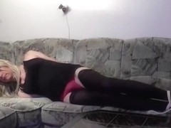 Crossdresser tied up on sofa  fenboy bondage