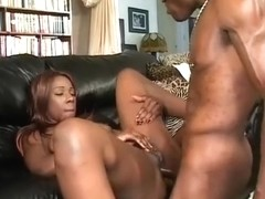 Sensual caramel girl seduces a black stud and has him roughly drilling her holes