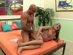 Stunning blonde Amy Brooke gets her feet licked and her pussy drilled