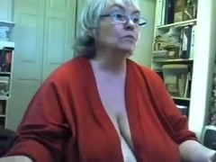 Chunky saggy granny undresses and masturbates on livecam