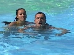 Viktoria in sex tape video with a couple having oral sex