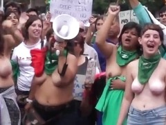 Topless Argentinian protesters with big boobs