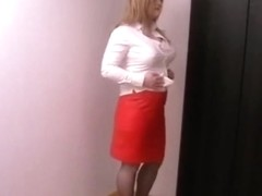 Red leather skirt 2