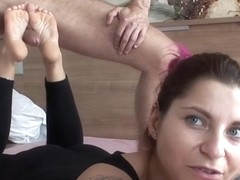 Hot milf footjob with cumshot