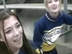 Cheerleader Lesbo Dick and FFM double penetration