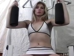 Blonde Gets Horny While Working Out