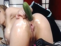 Fucking Self with Cucumber in ass, masturbating, and getting off licking high heels